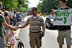 Congressman Keith Ellison. GOLDEN VALLEY, MN. - MAY 19:  Congressman Keith Ellison shakes hands with spectators at the Golden Valley Days Parade on May 19. 2012 Stock Photos