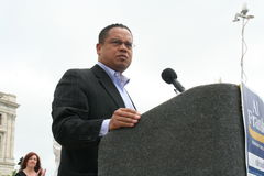 Congressman Keith Ellison. Speaks at a victory rally for Senator-elect Al Franken at the Minnesota State Capitol Royalty Free Stock Photography