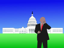 Congressman on phone. Congressman talking on phone at capitol hill Washington DC vector illustration