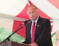 Congressman Steve King R-IA-4th speaks. 19 year old man charged with first degree murder of Louise Sollowin, 93. Congressman Steve King Stock Photo