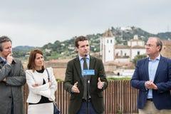 Congresso del partito popolare conservatore a Caceres del capo di Pablo Casado dei pp e del candidato per il primo ministro in Sp immagini stock