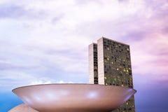 Congresso nacional brasileiro (Congresso Nacional) em Brasília, Brasil Foto de Stock Royalty Free