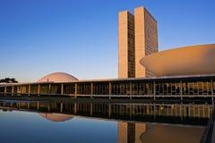 Congresso nazionale brasiliano a Brasilia. Fotografia Stock