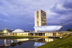 Congresso nazionale brasiliano (Congresso Nacional) a Brasilia, Brasile Fotografia Stock Libera da Diritti