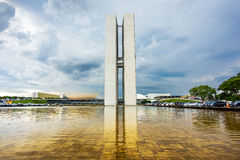 Congresso nazionale brasiliano (Congresso Nacional) a Brasilia, Brasile Fotografia Stock
