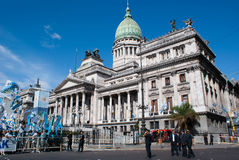 Congresso Parlement Building Buenos Aires. The Parlement Building or Congresso is a famous landmark in Buenos Aires. Here it can be seen on a day when the stock photography