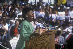 Congresswoman Maxine Waters addresses crowd at the Maxine Waters Employment Preparation Center during a 1992 Clinton/Gore campaign Royalty Free Stock Photo