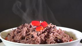Congri Rice a traditional Cuban dish or plate, arroz congri stock video footage