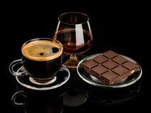 Conhaque, café, chocolate Fotografia de Stock