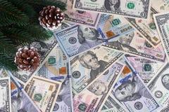 Coni americani dei rami dell'abete dei dollari del fondo di Natale Fotografia Stock Libera da Diritti