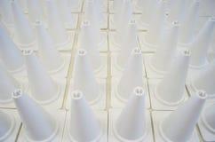 Coni bianchi di traffico Fotografia Stock