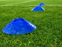 Coni blu d'addestramento sopra un'erba Immagini Stock Libere da Diritti