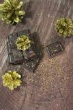 Coni del nuovo anno e del cioccolato Fotografie Stock Libere da Diritti