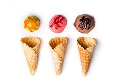 Coni della cialda con il gelato Fotografia Stock Libera da Diritti