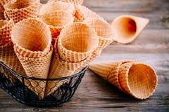 Coni della cialda del gelato Fotografia Stock