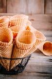 Coni della cialda del gelato Fotografie Stock Libere da Diritti