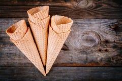 Coni della cialda del gelato Fotografie Stock