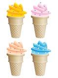 Coni di gelato Immagini Stock