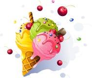 Coni di gelato della fragola, del cioccolato, della vaniglia e del pistacchio sopra priorità bassa bianca illustrazione vettoriale