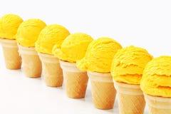 Coni di gelato gialli Immagine Stock Libera da Diritti