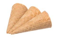 Coni di gelato isolati Fotografia Stock
