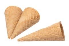 Coni di gelato isolati Fotografia Stock Libera da Diritti