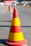 Coni di protezione di un sito della strada Immagine Stock
