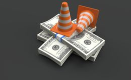 Coni di traffico che si trovano sulla valuta del dollaro illustrazione vettoriale