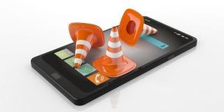 coni di traffico della rappresentazione 3d su uno Smart Phone Immagini Stock