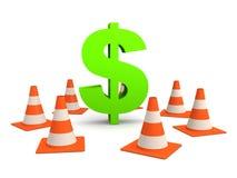 Coni di traffico e del dollaro Fotografia Stock Libera da Diritti