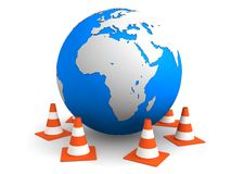Coni di traffico e del globo Fotografia Stock Libera da Diritti