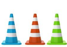 Coni di traffico su priorità bassa bianca Immagini Stock Libere da Diritti
