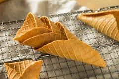 Coni gelati casalinghi croccanti della cialda fotografia stock libera da diritti