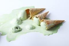 Coni gelati del tè verde caduti Fotografie Stock