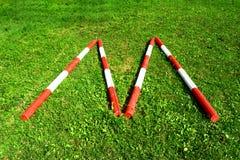 Coni retinici di legno a strisce sotto forma del ` del ` m. Fotografia Stock