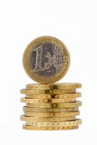 Conia l'euro isolato su fondo bianco Immagini Stock Libere da Diritti