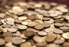 Conia la priorità bassa monete del centesimo di hryvnia ucraine Fotografia Stock Libera da Diritti