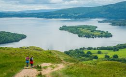 Panoramic sight from Conic Hill, over Loch Lomond, Scotland. royalty free stock images