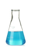Conical flask. With blue liquid isolated on white background royalty free stock photo