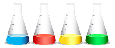 Conical flasks Stock Photo