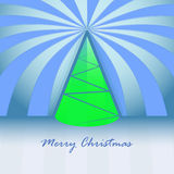 Conical green christmas tree and striped Royalty Free Stock Image