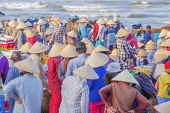 Conical hat of vietnamese woman at Long Hai fish market Stock Photos