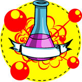 Conical Laboratory chemical flask logo Stock Image