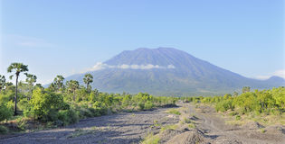 The conical volcano of Gunung Agung in Bali Royalty Free Stock Photo