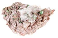 Conichalcite, Mineralkristall lokalisiert auf einem weißen Hintergrund Stockfoto