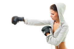 Conident strong woman hit the goal Stock Photos