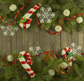 Conifer background with decorations Stock Photos