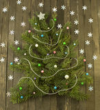 Conifer figure background with decorations Stock Photography