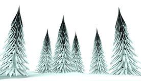 Conifer trees on winter country Stock Photography