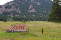 Conifera, segno positivo di Colorado Fotografie Stock Libere da Diritti